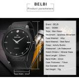 Belbi der Luxuxmarken-Männer Farbe Uhr-analoge ultradünne Stahllegierungs-Armbanduhrchinesische fabrikmäßig hergestellte des Mens-Uhr-Goldschwarz-Silber-drei, damit Sie wählen