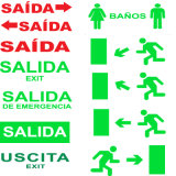 표시, 비상구 표시, 출구 표시, Salida 표시가 LED에 의하여 나간다