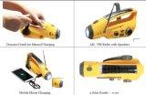 Gire o dínamo Lanterna Solar com carregador de telemóvel e Am&a rádio FM