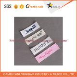 La tela de la insignia imprimió la escritura de la etiqueta tejida paño de la impresión de la ropa de la talla de las etiquetas