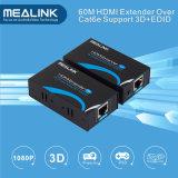 3D+Edid HDMI 증량제를 가진 단 하나 Cat5e/6 UTP 케이블에 60m HDMI 증량제