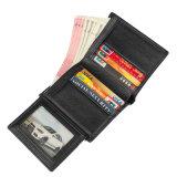 Китай производителем цене хорошего качества из натуральной кожи черного цвета RFID бумажник кредитной карты для мужчин