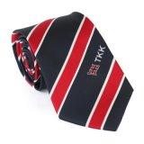 優雅で黒く赤いしまのあるロゴのタイ普及した顧客用パターン男性の形式的なCravatの学校のネクタイの一致のアクセサリ