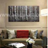 ホーム装飾のための重い組織上の効果の冬の樺の木の油絵