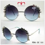 Óculos de sol de design especial com decoração de flores Óculos de sol de moldura redonda (30388)