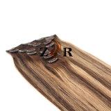Pinza de pelo mongol drenada natural del color del piano en la extensión del pelo humano