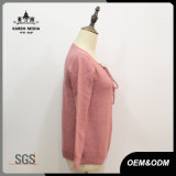 As mulheres V-Pescoço de Lace Up Pink Pulôver suéter