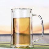 Personalizar la jarra de cerveza de doble pared con empuñadura de Vaso de cerveza bebiendo cerveza de la copa de cristal