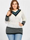 Stutzen-langer Art-Strickwaren-Pullover-Strickjacke-Großverkauf V der Überformatfrauen
