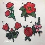큰 빨간 로즈 꽃 의복 아플리케, 꿰매는 패치, 재킷을%s 패치에 철