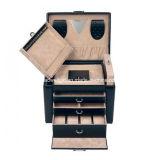 Oficina de alta calidad del terciopelo de joyería del rectángulo de Nappa del interior negro de la mirada