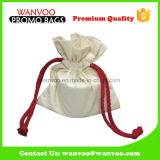 Новый белизны хлопко-бумажная ткани мешок 100% Drawstring с красным шнуром