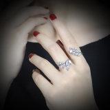 El último anillo de dedo de la joyería dos del oro blanco de la CZ del cobre del diseño