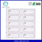 A4 크기 2 * 5 배치 근접 지능적인 RFID ID 카드 Prelam 상감세공