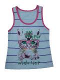 소매 없는에 있는 아이들 옷을%s 가진 탱크에 있는 면 소녀 t-셔츠 조끼 (SV-016-024)