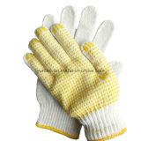 Белый хлопок вязаные рукавицы десятичном формате с точками PVC с маркировкой CE