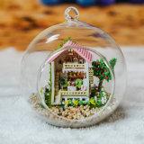 DIY 소형 소파 디자인 유리제 공을%s 가진 나무로 되는 인형 집