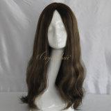 Peluca superior de seda de gama alta de Pontails del pelo humano (PPG-l-0641)