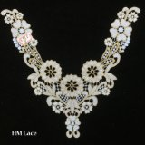 33*30cm Col en tricot dentelle de fleur d'or pour dame robe chemisier hme925