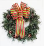 Coroa de Natal Decoration Plaid Bow