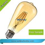 Dimmable bernsteinfarbiger warmer Heizfaden St64 4W 6W 8W E26 Edison der Birnen-Licht-Lampen-LED