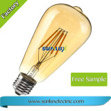 Dimmable 호박색 온난한 전구 St64 4W 6W 8W E26 Edison LED 필라멘트 빛 램프