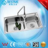 De sanitaire Gootsteen van de Keuken van het Staal van de Gootsteen van Waren Dubbele (BS-8002-201P)