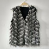 ジャカードはのどの孔雀の毛皮のGiletのベストのコートを編んだ