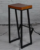 Ferro criativa madeira preta velha Alta Banqueta de fezes (M-X3113)