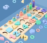 Het houten het Leren van het Speelgoed Vroege Houten Speelgoed van het Raadsel van het Aantal van het Alfabet voor Jonge geitjes