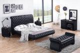 단추를 가진 높은 침대 머리 현대 가죽 연약한 2인용 침대