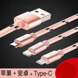 Trenzado Nylon 3 en 1 Cable USB para iPhone Anroid Cable tipo C
