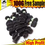 6A индийского прав Реми удлинитель волос ослабленных волос кривой