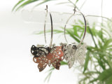 모조 은을%s 가진 나비 모양 구리 장 요전같은 원형 귀걸이