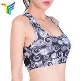 Новые поступления Custom Дышащий печати голубой бюстгальтер для занятий йогой, износ для женщин майка для йоги