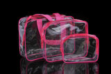 Bolso cosmético del maquillaje del bolso de Vinyle de la promoción del PVC del encierro claro de la cremallera