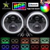 L'angelo rotondo multicolore dell'anello di guidacarta di controllo 7inch RGB di Bluetooth Eyes i fari del LED per il Wrangler della jeep