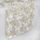 결혼식 연회 테이블 훈장을%s 3D 로즈 자수 테이블 주자 근엽 공단 Tablerunner