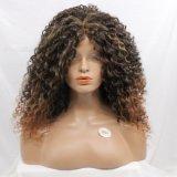 아프리카 비꼬인 꼬부라진 혼합 브라운 레이스 정면 합성 머리 가발