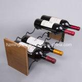 Madera del acacia de Deco y estante amontonables caseros creativos del vino del alambre con la capa negra