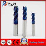 4 flautas HRC<65 sólido quadrado de carboneto de tungsténio a extremidade plana do lagar com revestimento Naco-Blue