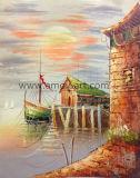 Handmade bateau en mer de la peinture d'huile sur toile pour décoration murale