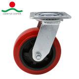 Поворотный красный провод фиолетового цвета колеса самоустанавливающегося колеса для тяжелого режима работы