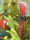 高品質の壁の装飾のためのハンドメイドのジャングルの鳥のオウムの油絵