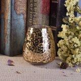 Sostenedor pintado oro único del vidrio de la vela de la hoja del diseño