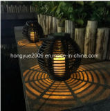 태양 고대 등나무 손전등 테이블 빛 LED 태양 밝은 노란색 LED 옥외 무선 태양 강화된 센서 태양 램프
