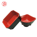 De cerámica rojo del vendedor y negro a granel como el plato de la salsa del servicio de mesa para sumergir