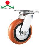 Rolamento de esfera dupla pesado chama rodízio PU, Núcleo de PP com tampa de aço Dianteiras