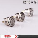 Ce Hban RoHS (19mm) Ring-Illumination Commutateur à bouton poussoir en métal plat