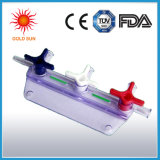 Robinet en plastique à trois voies remplaçable avec le tube de prolonge